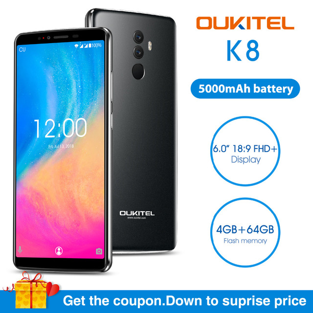 "OUKITEL K8 Mobile Phone 6.0"" 4GB RAM 64 ROM MTK6750T Octa Core Android 8.0 5000mAh 13.0MP+5.0MP Fingerprint Face ID Smartphoone"