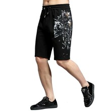 Summer New Fashion Embroidery Bee Skull Head Printed Casual Shorts Cotton Men Boardshorts Loose Baggy Beach Shorts Male Clothes все цены