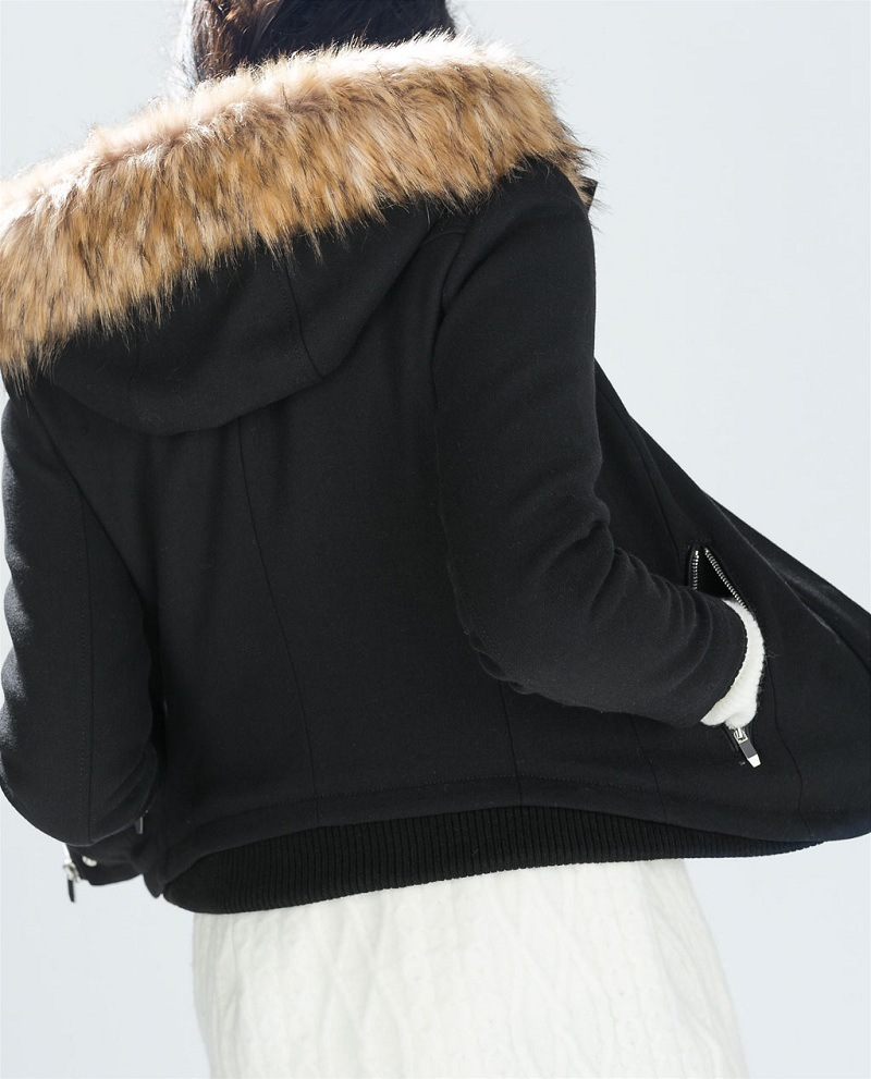 82579609d832d Genuine ZA 2014 autumn winter Female Black Fur hooded Short Jacket coat  Women Slim Hoodie overcoat With pockets-in Basic Jackets from Women s  Clothing on ...