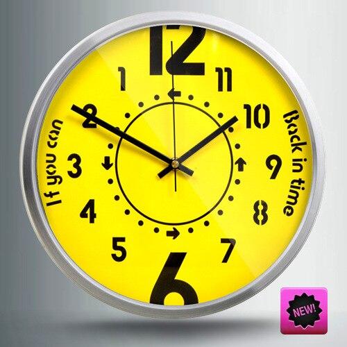 Creative inverse Direction horloge murale jaune temps décor à la maison Pow patrouille Guess femmes Design moderne Relogio Parede idées cadeaux ZB85