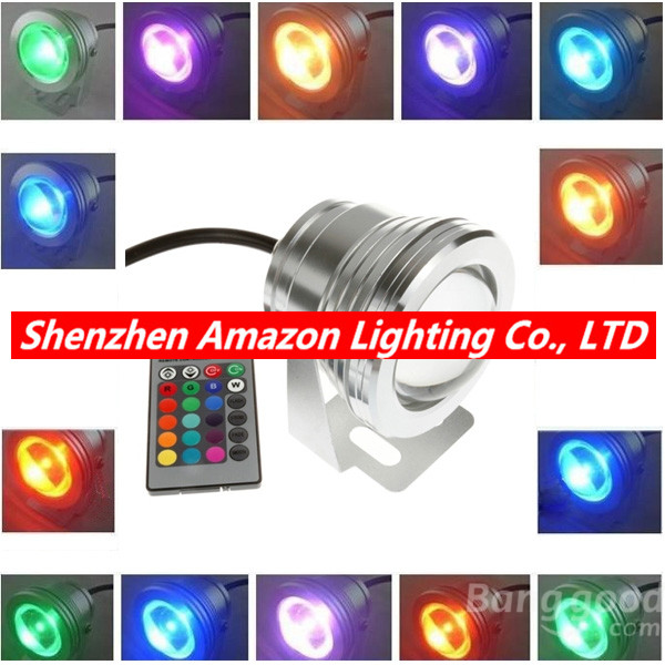 Remote Control 10w 12v Water Resistant RGB LED Underwater Light Lamp for Landscape Fountain Pond Lighting