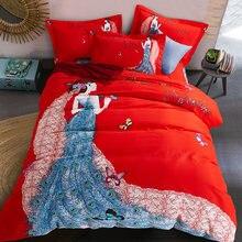 Комплект постельного белья hongbo 4 шт/компл Свадебный красного