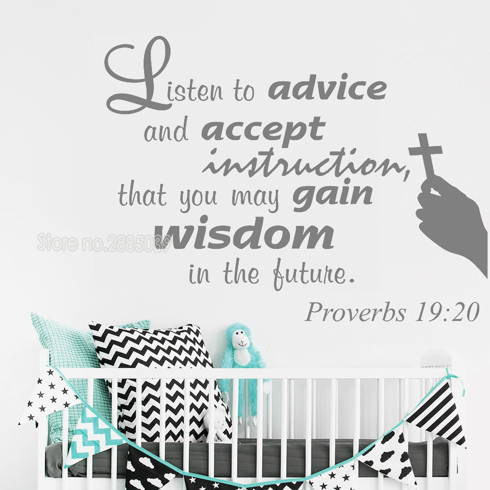 US $5 98 25% OFF|Proverbs 19:20 scripture Vinyl Wall Stickers Quote Listen  to advice and accept instructions Art Wall Lettering Decal Mural LC750-in