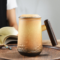 Modern office cup porcelain mug tea coffee cup set with lid handle stanless steel strainer filtration sea wave relief China cup
