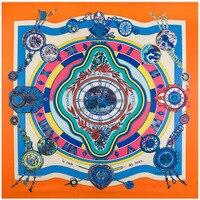 2017 Bufanda de Seda de la Flor Color de Roma Relojes Y Relojes de 130*130 cm Señora de Seda Verdadero Lujo Sarga Pañuelo de Seda bufanda