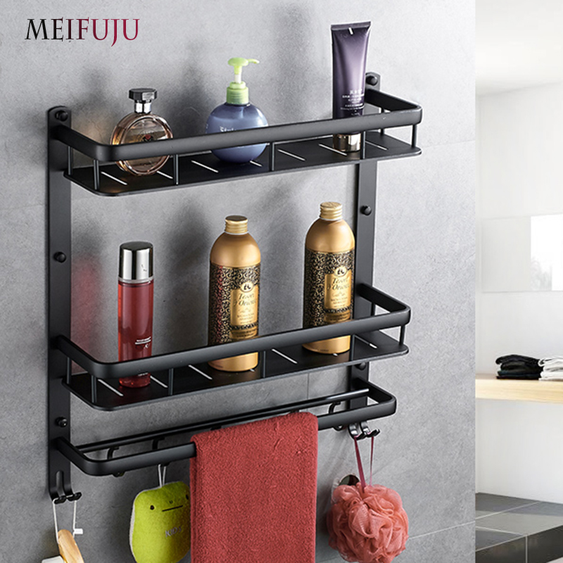 MEIFUJU NEW Aluminum Bathroom Shelf Black Gold Bathroom Shelves Rack with Hooks Single D ...