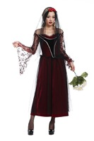 Sexy Long Dress Queen Halloween Witch Costume Women Adult Gothic Ghost Bride Masquerade Club Wear Cosplays With Veil