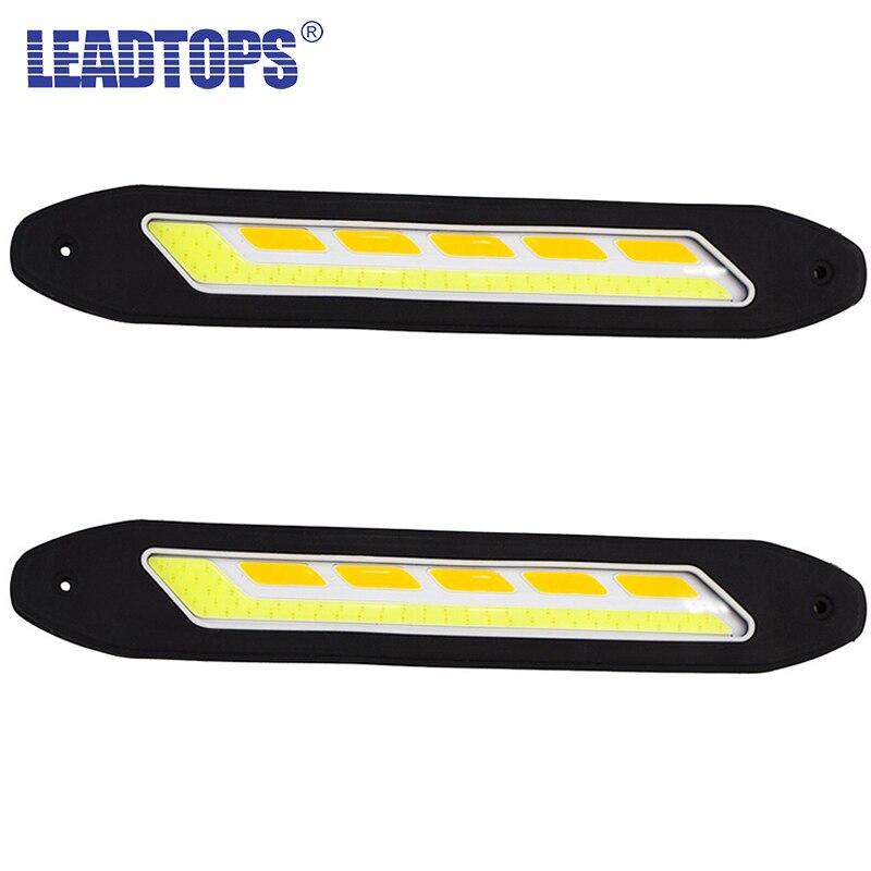 2PCS flexibilní vodotěsné bílé a žluté auto hlava světlo COB LED denní svícení DRL mlhová světla s směrové světlo CJ