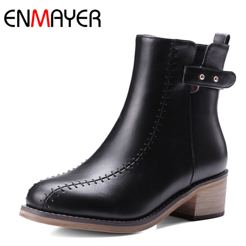 ENMAYER High Heels Rivets Charms Shoes Woman Ankle Boots for Women Winter Motorcycle Boots Large Size 34-48 Zippers Round Toe enmayla ankle boots for women low heels autumn and winter boots shoes woman large size 34 43 round toe motorcycle boots