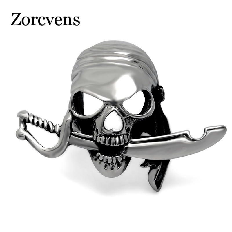ZORCVENS Punk Rock Stainless Steel Knife and Scarf Pirates Ring for Men Cool Men Retro Jewelry Gift gold earrings for women