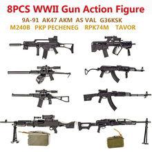 SWAT 1/6 Scale World Gun Assemble Model RPK74 M240 PKP Tavor G36KSK 9A-91 AK47/AKM ASVAL Rifle Machine Gun Model Puzzles Block