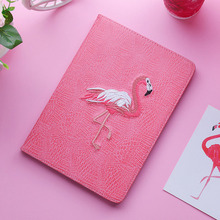 3D Flamingo Embroidery Soft Stand Cover Smart Sleep&Wake up Flip Magnet Case for iPad Mini 2 3 4 Air Pro 9.7 10.5+stylus pen