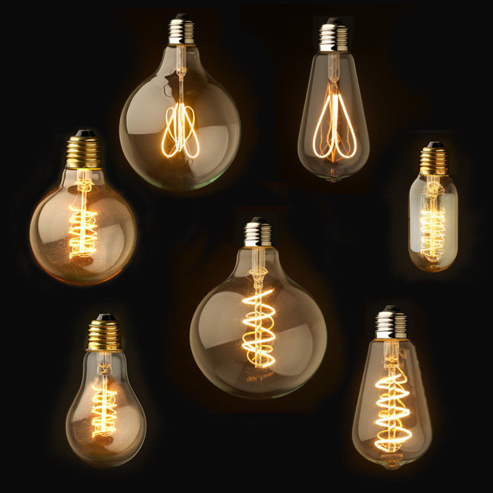 Dimmable E27/B22 T45 A60 ST64 G95 G125,Spiral LED Filament Light Bulb Retro Vintage Lamps Decorative Lighting-in LED Bulbs & Tubes from Lights & Lighting