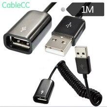 White / black telescopic extension cord spring type USB2.0 revolution female USB line for mobile computer