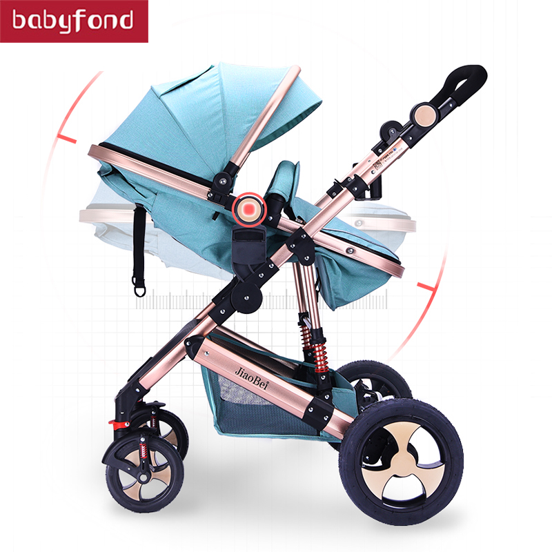 2018 Baby Stroller Can Sit and lying stroll Folding  High Landscape Four Seasons Universal Baby  pram 2  in 1 stroller  1