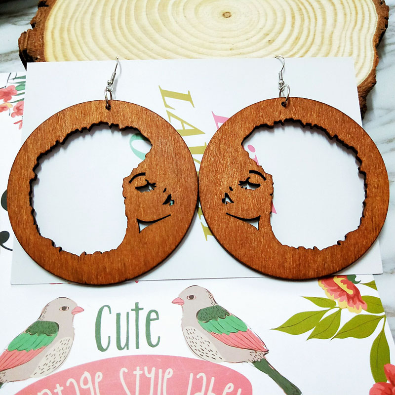 Brown Wood Round Africa Map Hollow Out Girl Face Outline Tribal Earring Wooden Vintage Ethnic Accessory Ear African Boho Jewelry