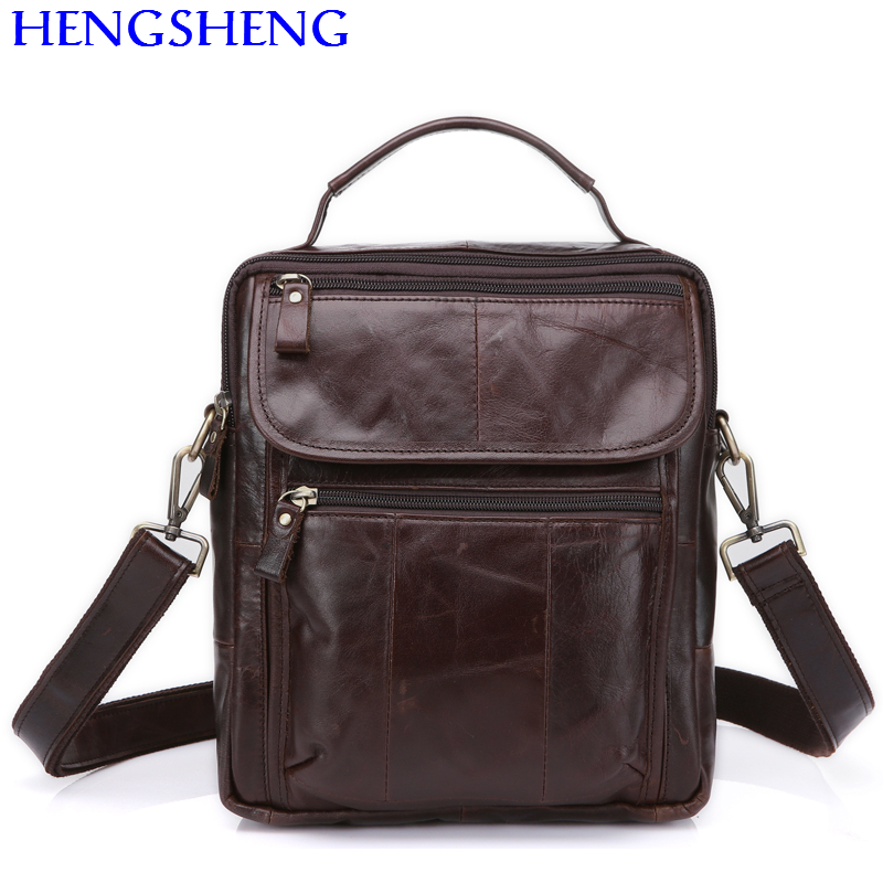 Hengsheng promotion 8870 coffee genuine font b leather b font men bag of quality cow font