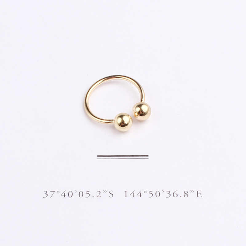 XIYANIKE 925 เงินสเตอร์ลิงวงกลมเปิดทองและ Sliver แหวนอินเทรนด์รอบแหวนงานแต่งงานเครื่องประดับ