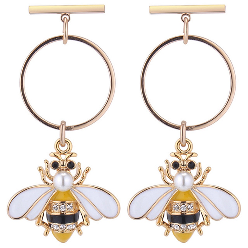 Adaptable 8 Styles Adorable Bumble Bee Insect Shaped Stud Earrings Animal Bees Jewelry Insect Fly Bird Honey Cute Creative Bee Earrings Neither Too Hard Nor Too Soft