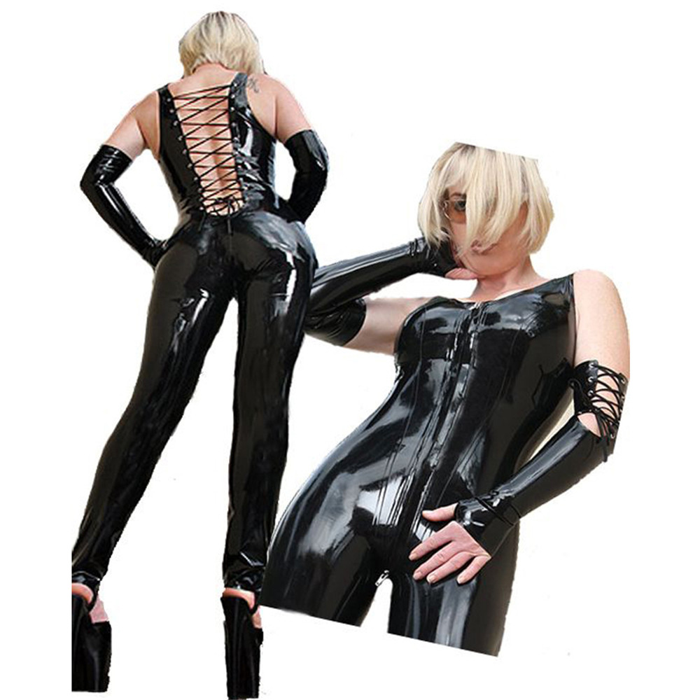 Sexy Black Female Faux Leather Catsuit Latex Bodysuit Front Zipper Open Crotch Lace Up Stretch Clubwear Pole Dance Jumpsuit