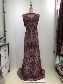 African Lace Fabric 2019 High Quality Lace Sequin Fabric Embroidered Lace Trim Applique Cord Laces For Nigerian Party JL162