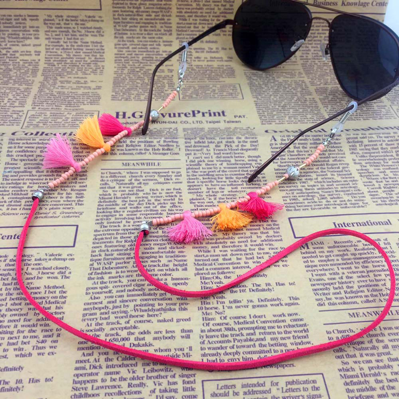 Women Acrylic Beads Chain Tassel Sunglasses Chains Necklace Reading Glasses Cord Holder Neck Strap Rope for Eyewear