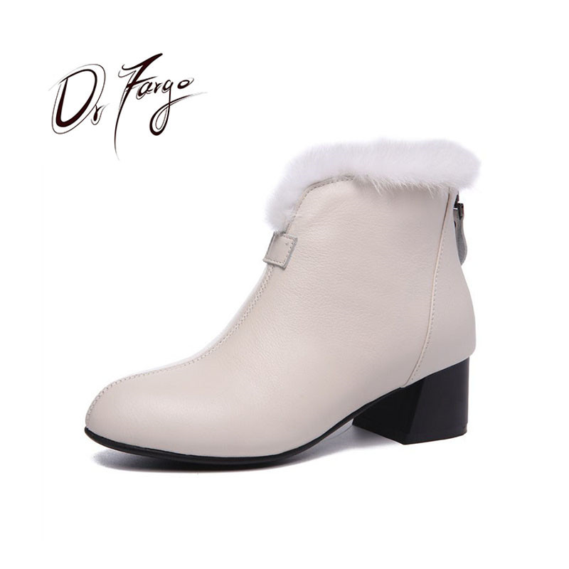 DRFARGO Genuine Leather Shoes Women 100% Real Rabbit Fur Top Ankle Boots Round Toe Square Heel Winter Snow Boots size34-43 8015 anmairon new genuine leather boots cowhide women s ankle boots square heel fashion real leather motorcycle snow boots shoes