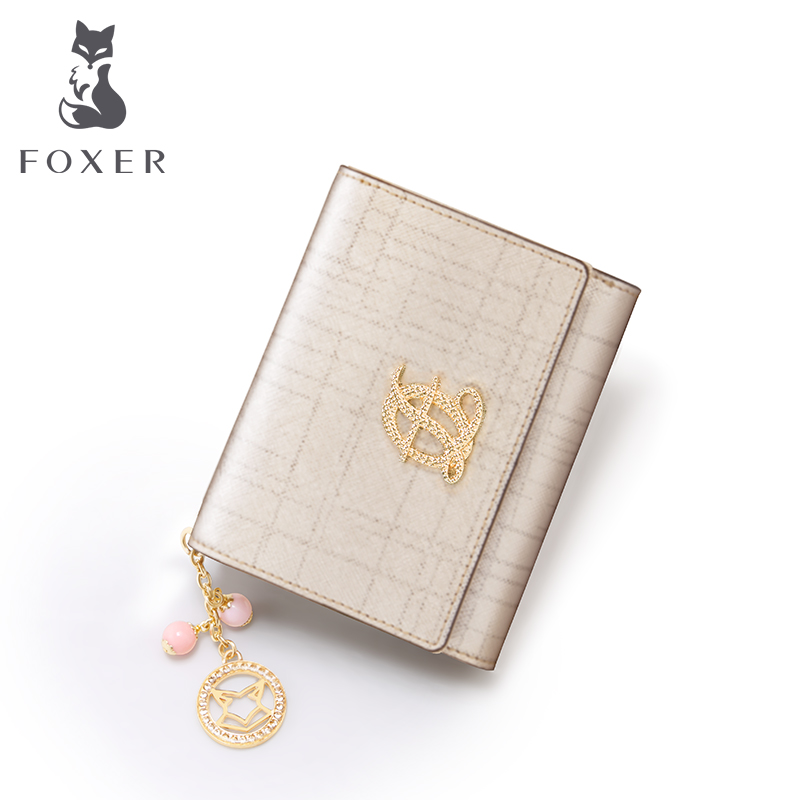 FOXER Brand Women Wallet Leather Simple Purse Card Case Fashion Girl Coin Wallets & Purses & Card Holder fashion cute cartoon girls wallets girl animal printing short wallets small purses card holder coin purses women wallet purse