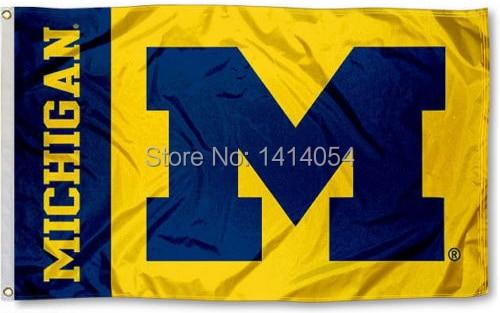 Michigan Wolverines Mais Bandiera 150X90 CM Banner 100D bandiera di Poliestere occhielli in ottone 001, spedizione gratuita