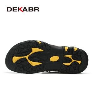 Image 4 - Мужские сандалии из воловьей кожи DEKABR, модная повседневная обувь цвета хаки, нескользящая пляжная обувь с резиновой подошвой, большие размеры 38 47, лето 2019
