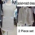 Elegante 2 peça set mulheres, plus size vestido 5xl 6xl moda top curto e vestido set, casaco de tweed + vestido branco, incrível splice silk