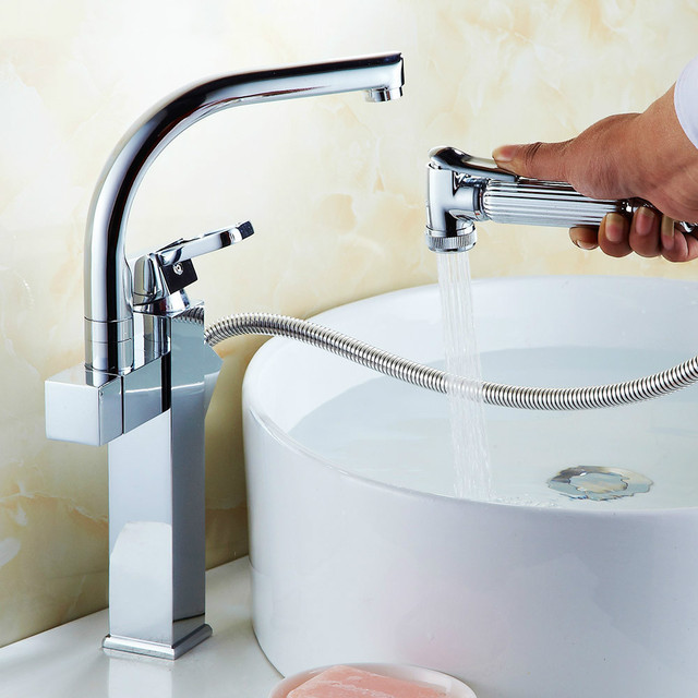Pull Type Faucet And Shower Solid Brass Bathroom Faucet With Pull Out  Handle Rotary Telescopic Washbasin
