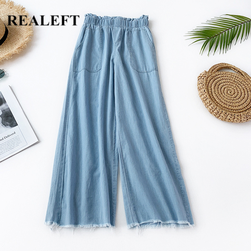 REALEFT 2019 Summer Thin Women Streetwear Denim   Pants   Elastic Regular Casual Ankle-Length Jeans   Wide     Leg     Pants   with Pocket