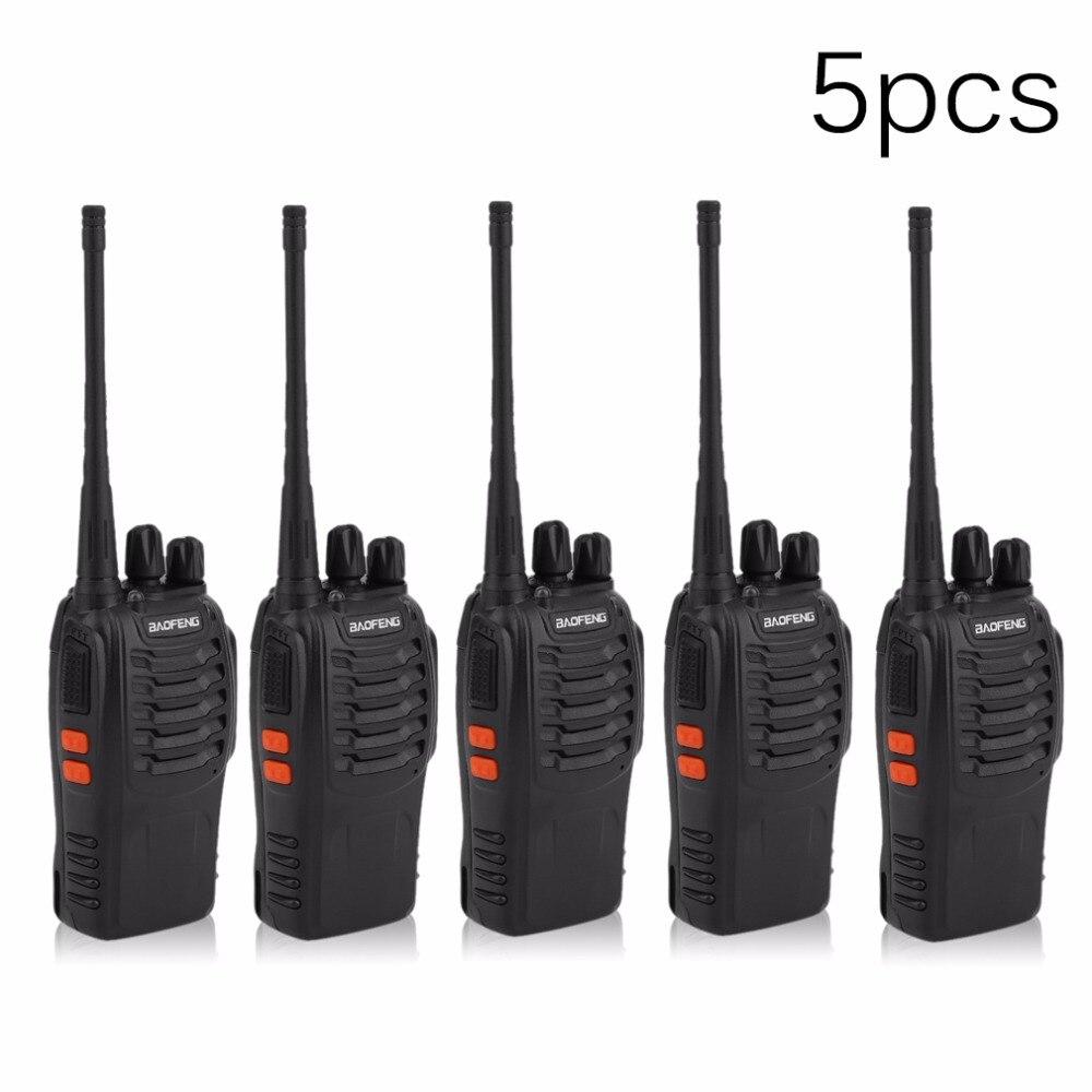 5 pz/set Baofeng BF 888 s Portatile Walkie Talkie Ricetrasmettitore bidirezionale Comunicatore Radio 400-470 mhz Interphone Citofono spina di UE