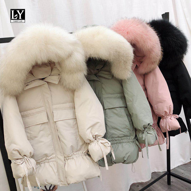 Ly Varey Lin Women Winter White Duck Down Parkas Loose Jackets Large Natural Raccoon Fur Hooded Warm Medium Long Coats Outwear