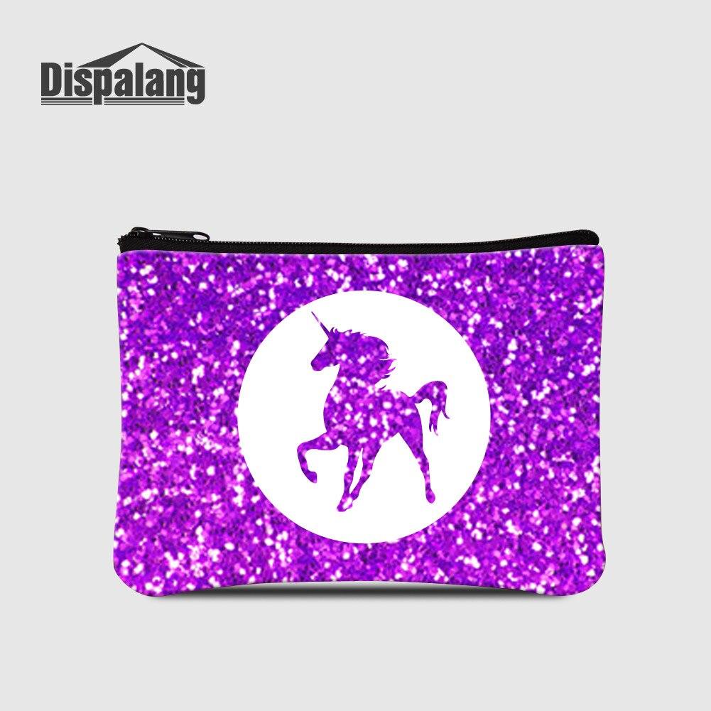 Dispalang Purple Cartoon Unicorn Women Zipper Coin Purse For Shopping Personalized Horse Animal Small Wallet For Girls Carteiras цена 2017