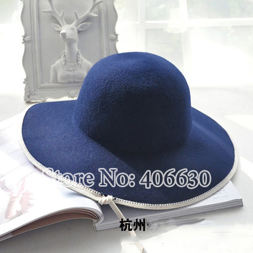 c5eee5fca65 Winter Wool Felt Fedora Hats For Women Wide Brim Chapeu Floppy Hats Ladies  Female Hats Free Shipping PWFE 063-in Sun Hats from Women's Clothing & ...