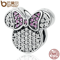 BAMOER Real 100 925 Sterling Silver White Stones Child Bead Cartoon Charms Fit Bracelets Beads Jewelry
