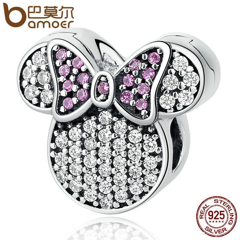 BAMOER Real 100% 925 Sterling Silver White & Pink Stones Child Bead Cartoon Charms Fit Bracelets Beads & Jewelry Making PSC052 bamoer real 100