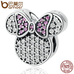 BAMOER Real 100% 925 Sterling Silver White & Pink Stones Child Bead Cartoon Charms Fit Bracelets Beads & Jewelry Making PSC052