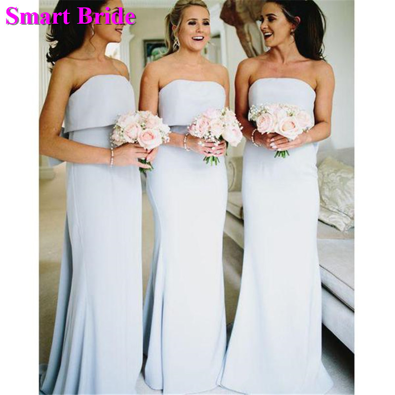 Strapless   Bridesmaid     Dresses   Sexy Mermaid Simple Wedding Party Open Back Chiffon Guest   Dresses   robes de demoiselle BD60