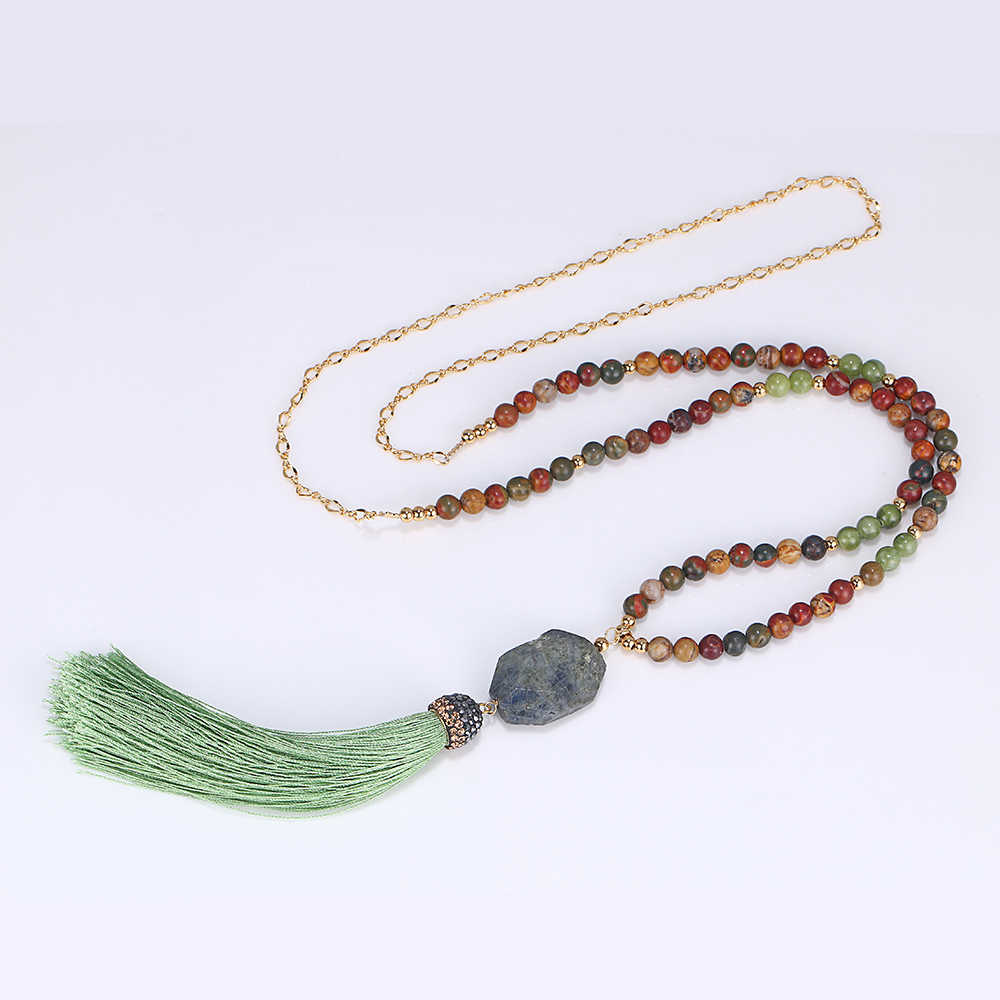 Czeski naturalny labradoryt wisiorek naszyjnik Picasso Jasper Peridot naszyjnik z kamienia naturalnego długi zielony Tassel naszyjnik dla kobiet