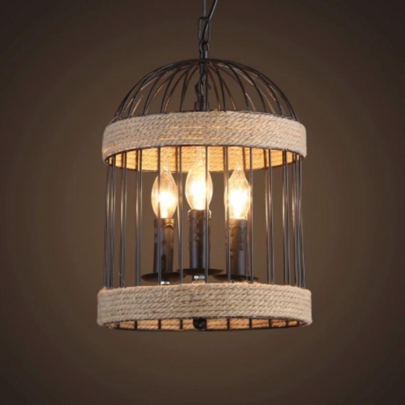 Vintage America Country Hand Knitted Iron Hemp Rope Bird Nest E27 Pendant Light for Dining Room Restaurant Bar Decor Lamps 1662