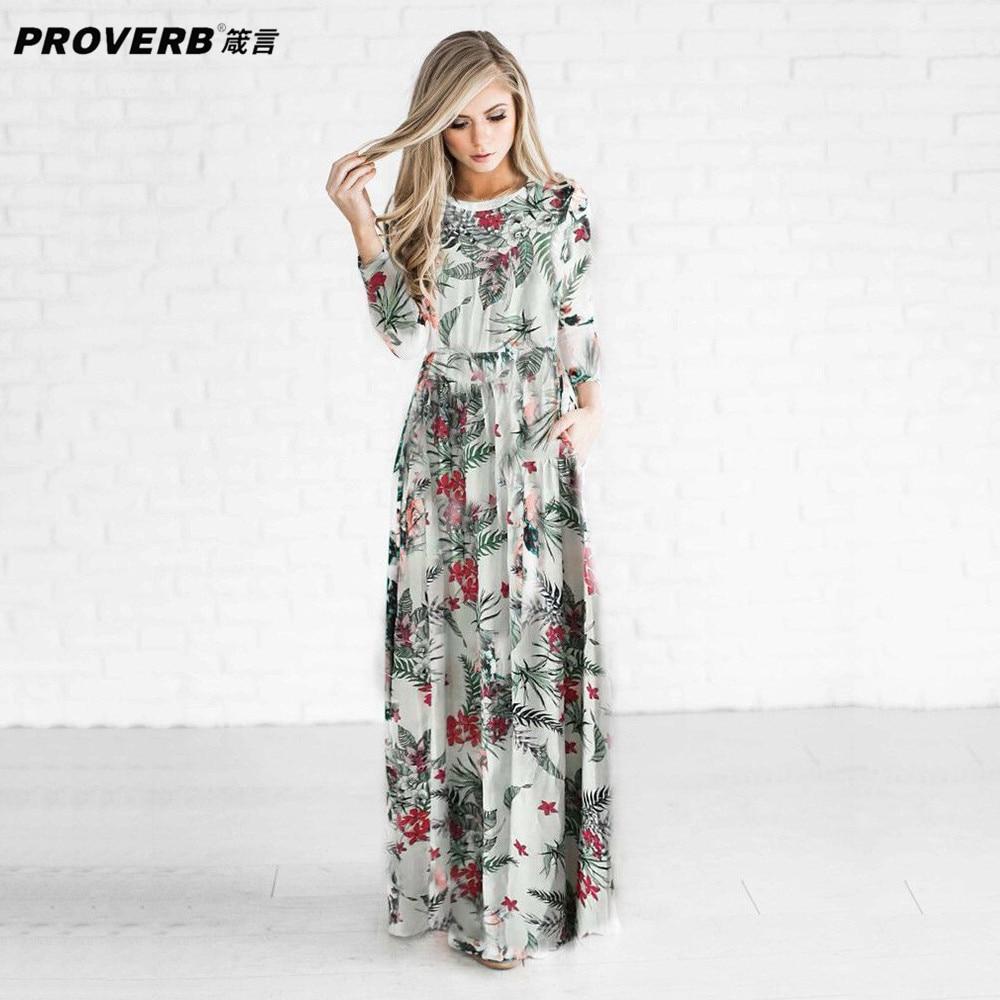 PROVERB Boho Maxi Women Desses Floral Print Round Neck Long Sleeves Casual Sheath Swing Dresses Beach Wear Robes Vestidos