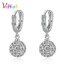 Woman earrings fashion jewelry 925 silver Crystal ball small dangle earrings female classic drop earrings for women