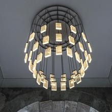 New crystal chandelier hotel hall living room decoration staircase American LED lamp  customized
