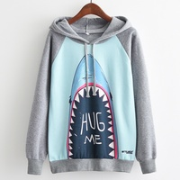 KaiTingu Brand Fashion Autumn Winter Long Sleeve Women Hooded Sweatshirt Harajuku Shark Print Hoodies Tracksuit Jumper