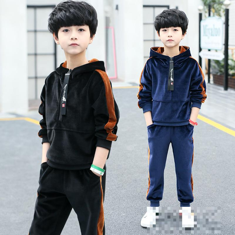 Boy Clothes Set 2018 New Fashion Sports Suit Long Sleeve Hooded Outwear + Pant 2pcs Autumn Brand Children Clothing 5 7 8 9 10 12