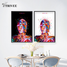 Abstract Canvas Art Star Wars Movie Poster C-3po Paintings Wall Art for Home Decoration Wall Decor Picture For Home Living Room star wars the force awakens 3d with led light tatooine c 3po see threepio jabba the hutt wall lamp living room decoration s580