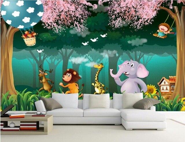 Dieren Behang Kinderkamer : Custom mural foto d behang bos dier cartoon kinderkamer home